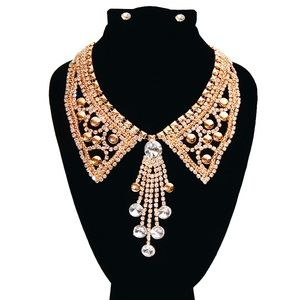 Gold and Rhinestone Collar Necklace Set